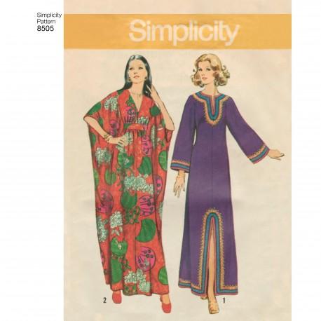 9ca248f7 1970èr kjole Maxi kjole snitmønster simplicity 8505
