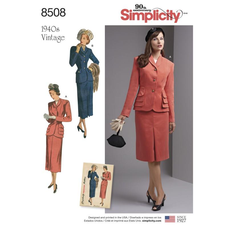 Symønster Simplicity 8462 Bluse Nederdel Vintage Jakke