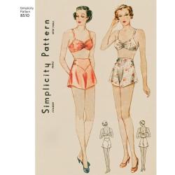 1930èrne vintage lingeri BH og trusser snitmønster Simplicity 8510