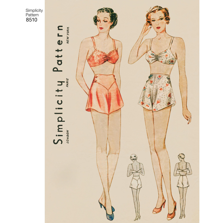 4055a1bcd5f9 1930èrne vintage lingeri BH og trusser snitmønster Simplicity 8510