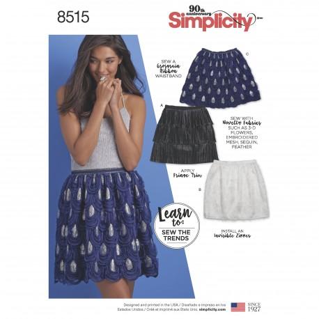 Nederdel snitmønster simplicity 8515