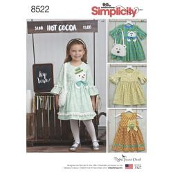 Pige kjole og taske snitmønster Simplicity 8522