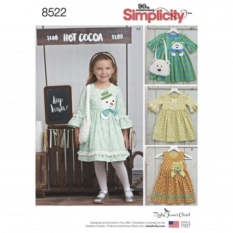 f420b1c9535b Pige kjole og taske snitmønster Simplicity 8522