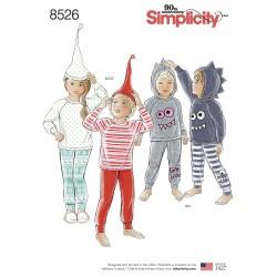 Bluse m/raglan ærmer og hætte ,bukser og hue snitmønster Simplicity 8526