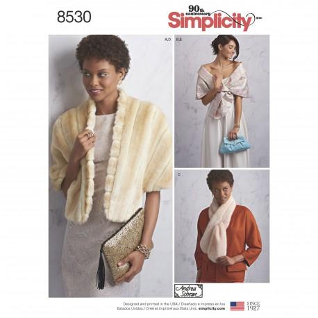 Accessories Stola og clutch snitmønster Simplicity 8530