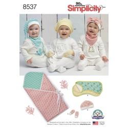 Babyhue m/sløjfe , tørklæde og tæppe snitmønste Simplicity 8537r