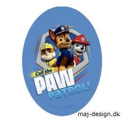 Paw Patrol strygemærke ovalt 11 x 8 cm