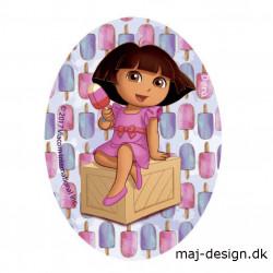 Dora the explorer ovalt strygemærke 8 x 11 cm