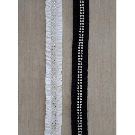 Elastisk Hvidt bånd m/sten, 20mm