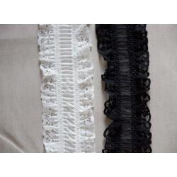 Elsatisk sort blondebånd,70mm