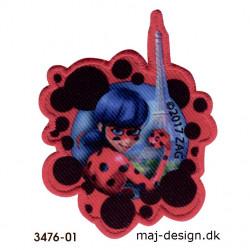 Lady Bug Mariehøne broderet strygemærke 3476-01