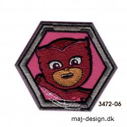Pj Mask Owlette broderet strygemærke 6 x 7 cm 3472-06