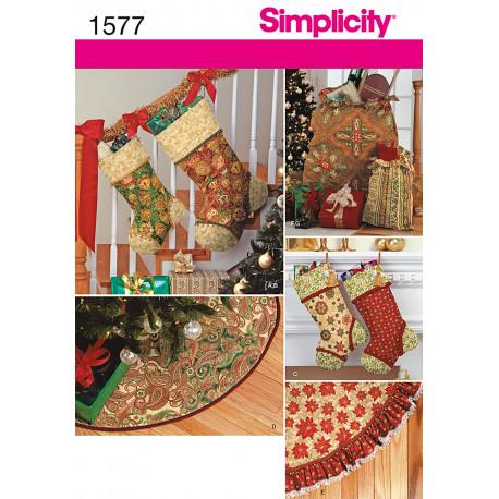 Juletræs tæppe , julesokker og puder Snitmønster 1577
