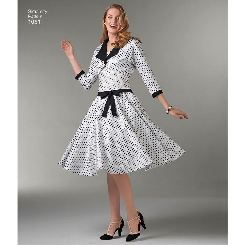 40c9b7bcb04e ... Kjole og kort jakke snitmønster Simplicity 1061 ...