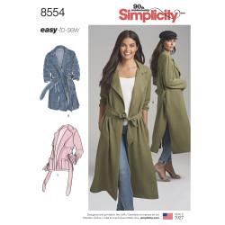 Frakke og jakke m/bælte snitmønster 8554
