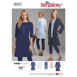 Frakke bukser kjole og tunika snitmønster 8557