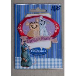 "Ratatouille Emile &Remy"" 7,5x4,5cm"" Strygemærke Disney"