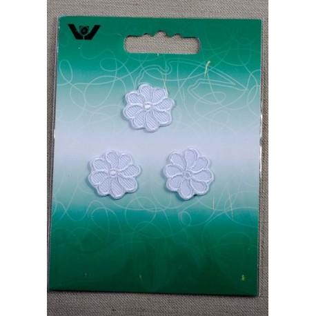 Blomst Hvid Ø 2cm, 3stk.pr.kort