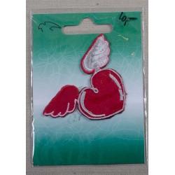 Hjerte m/vinger 7x4,5cm Rød/hvid Strygemærke