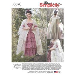 1800´tals kjole voksen kostume snitmønster 8578