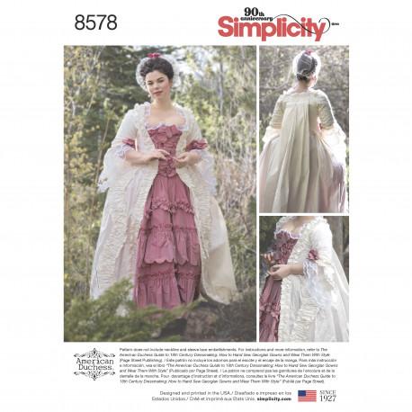 b0b5da16 1800´tals kjole voksen kostume snitmønster 8578