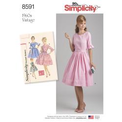 1960´vintage kjole 3/4 lange ærmer og bælte snitmønster 8591