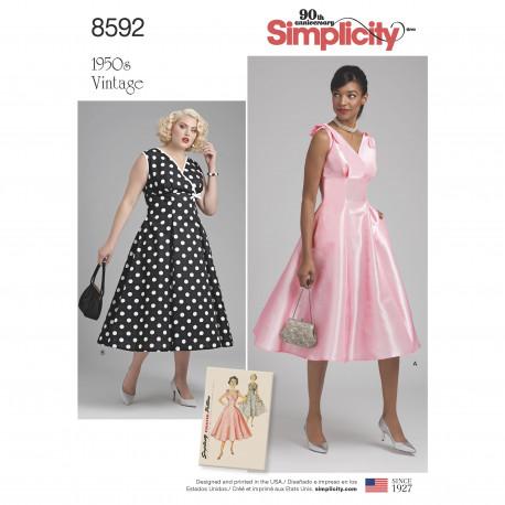 1950´vintage kjole m/sløjfe på skulder også plusmode snitmønster 8592
