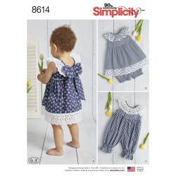 Babykjole m/sløjfe på ryggen duksedragt og bukser snitmønster