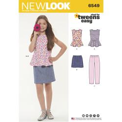 Pigenederdel bluse og bukser snitmønster Newlook 6549