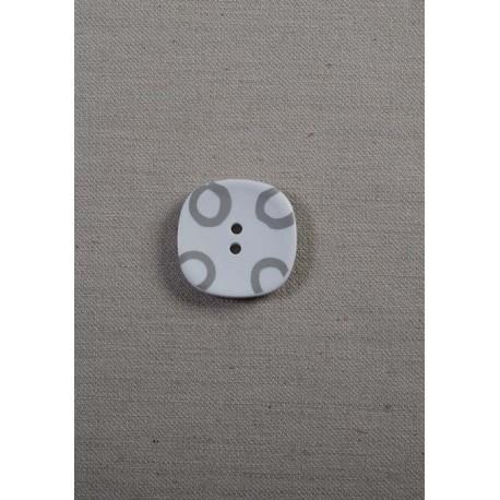 Firkantet knap 2-huls Hvid/grå ,25mm