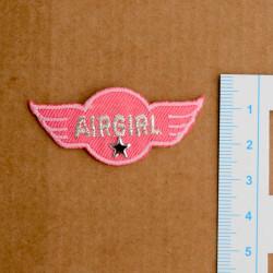 Air wing lyserød m/stjerne broderet strygemærke