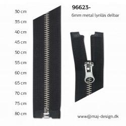 Cose metal lynlås 6mm, sølv delbar