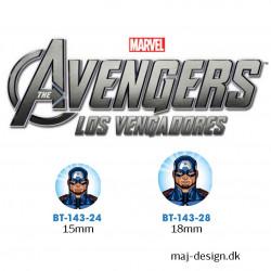Captain America knap med øje, 6 stk pr kort