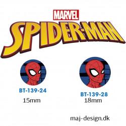 Spiderman knap med øje, 6 stk pr kort
