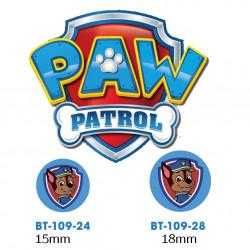 Paw Patrol Chase knap med øje, 6 stk pr kort