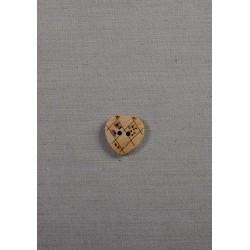 Træ knap hjerte 18mm 2-hul