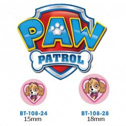 Paw Patrol Skye knap med øje, 6 stk pr kort
