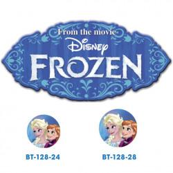 Frozen Elsa og Anna knap med øje, 6 stk pr kort