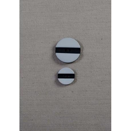 2-huls knap sort/grå