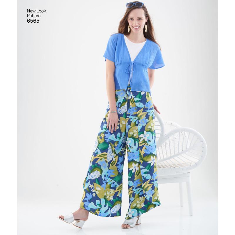 Slå om bukser shorts og bluse snitmønster