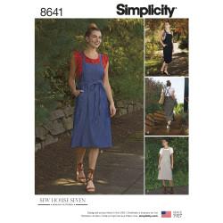 Forklædekjole også plusmode Simplicity snitmønster 8641