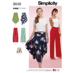 Asymetrisk nederdel og bukser Simplicity snitmønster 8649