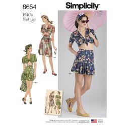 1940érne vintage bluse shorts og nederdel Simplicity snitmønster 8654