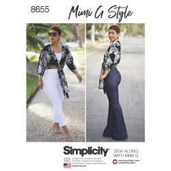 Højtaljet bukser og bluse også plusmode Simplicity snitmønster 8655