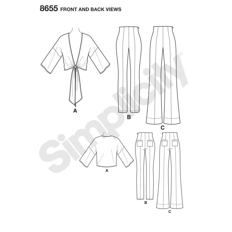 Højtaljet bukser og bindebluse også plusmode snitmønster