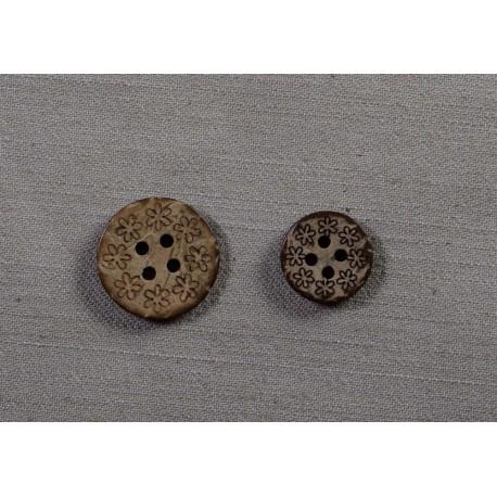 Knap4-hul Kokosknap m/blomster 15mm
