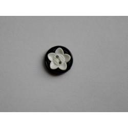 Knap 2-hul Sort m/hvid blomst 18mm