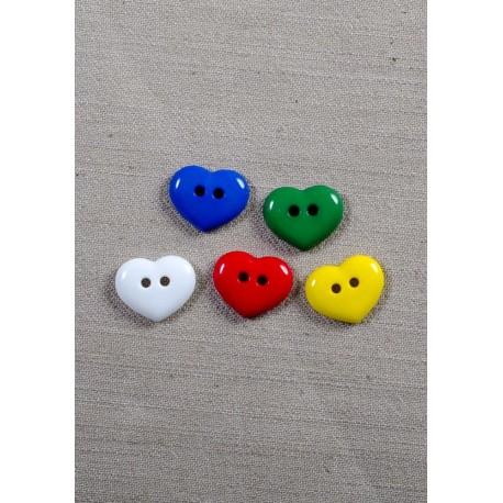 Hvid hjerte knap 2-huls 15mm