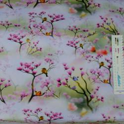 Magnoliatræ m/ fugle Digital print metervare