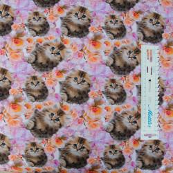 Kattekilling og blomster Digital print børnestof